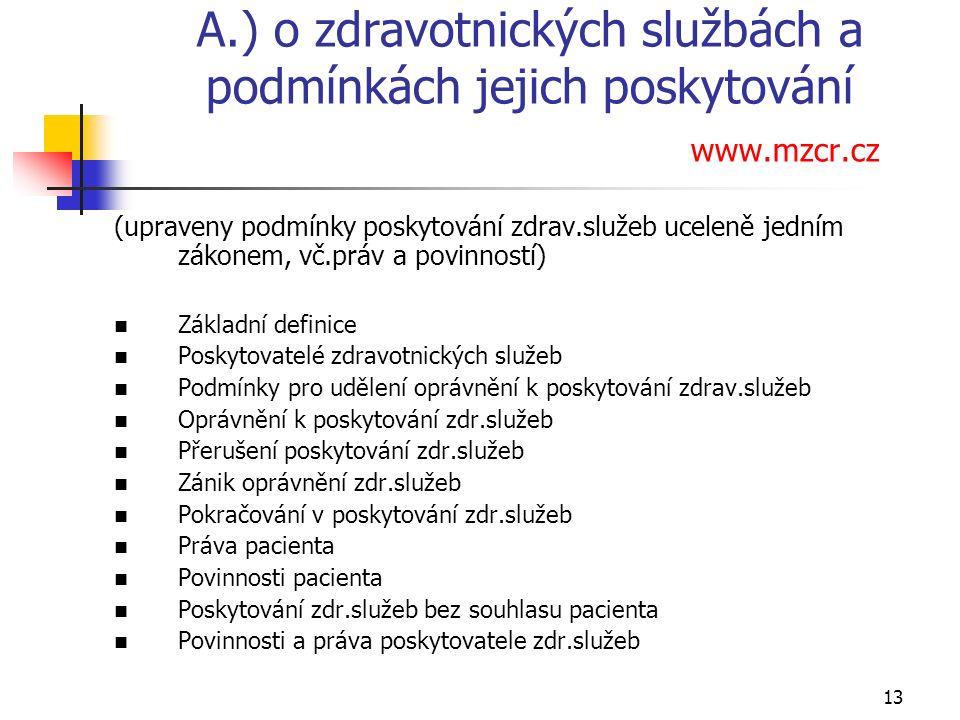 13 A.) o zdravotnických službách a podmínkách jejich poskytování www.mzcr.cz (upraveny podmínky poskytování zdrav.služeb uceleně jedním zákonem, vč.práv a povinností) Základní definice Poskytovatelé zdravotnických služeb Podmínky pro udělení oprávnění k poskytování zdrav.služeb Oprávnění k poskytování zdr.služeb Přerušení poskytování zdr.služeb Zánik oprávnění zdr.služeb Pokračování v poskytování zdr.služeb Práva pacienta Povinnosti pacienta Poskytování zdr.služeb bez souhlasu pacienta Povinnosti a práva poskytovatele zdr.služeb