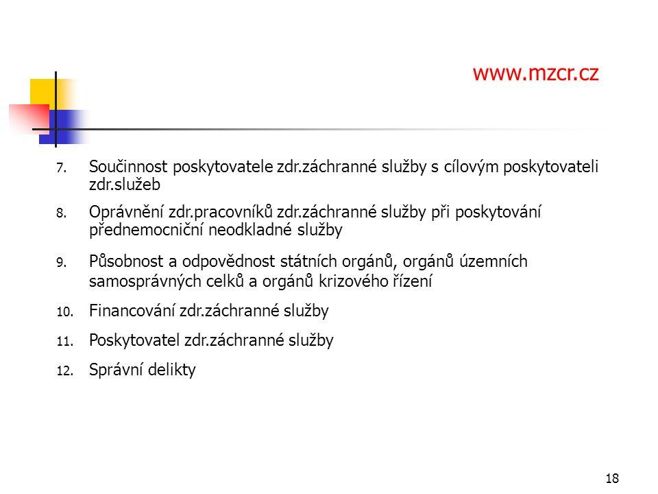 18 7. Součinnost poskytovatele zdr.záchranné služby s cílovým poskytovateli zdr.služeb 8.