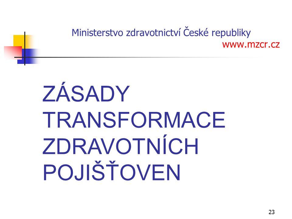 23 ZÁSADY TRANSFORMACE ZDRAVOTNÍCH POJIŠŤOVEN Praha, 7.
