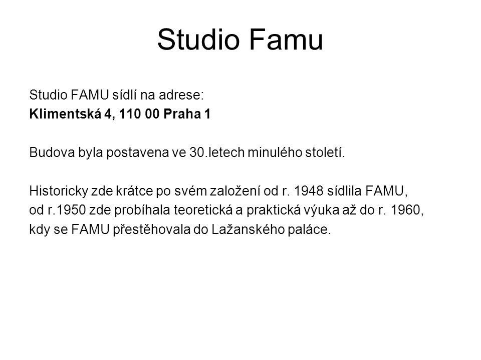 Studio FAMU V budově Studia FAMU se nachází - 2 filmové ateliery - filmové střižny16mm a 35mm -elektronické střižny (AVID, FINAL CUT), -2 zvukové míchací haly s výstupem 5.1 -hlasatelna -TV režie s mobilním 4 kamerovým řetězcem HD -přepisové pracoviště -produkční místnost pro studenty -archiv -půjčovna 16mm a 35mm filmových kamer, videokamer HDV, zvukové techniky, osvětlovací a pohybové techniky.