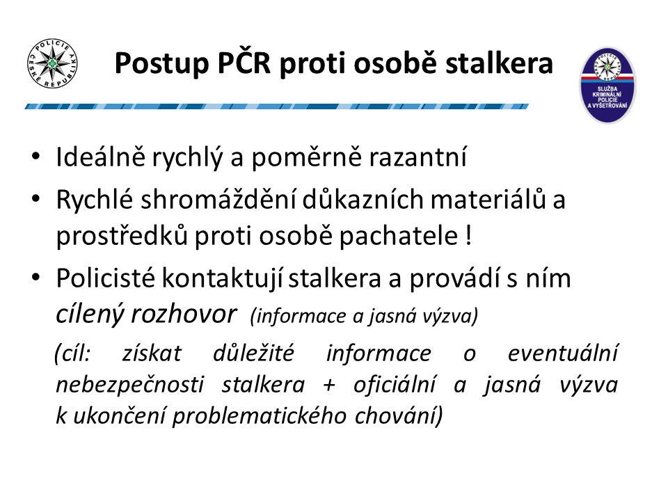 Postup PČR proti osobě stalkera Ideálně rychlý a poměrně razantní Rychlé shromáždění důkazních materiálů a prostředků proti osobě pachatele .