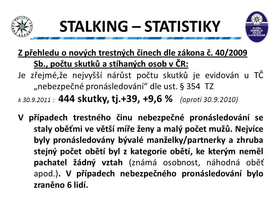 STALKING – STATISTIKY Z přehledu o nových trestných činech dle zákona č.