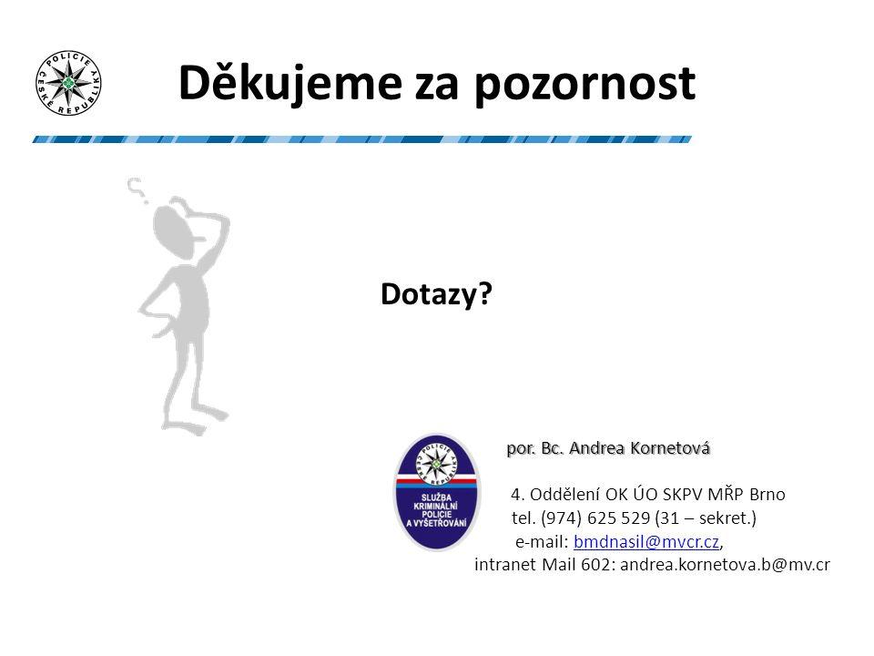 Děkujeme za pozornost Dotazy. por. Bc. Andrea Kornetová por.
