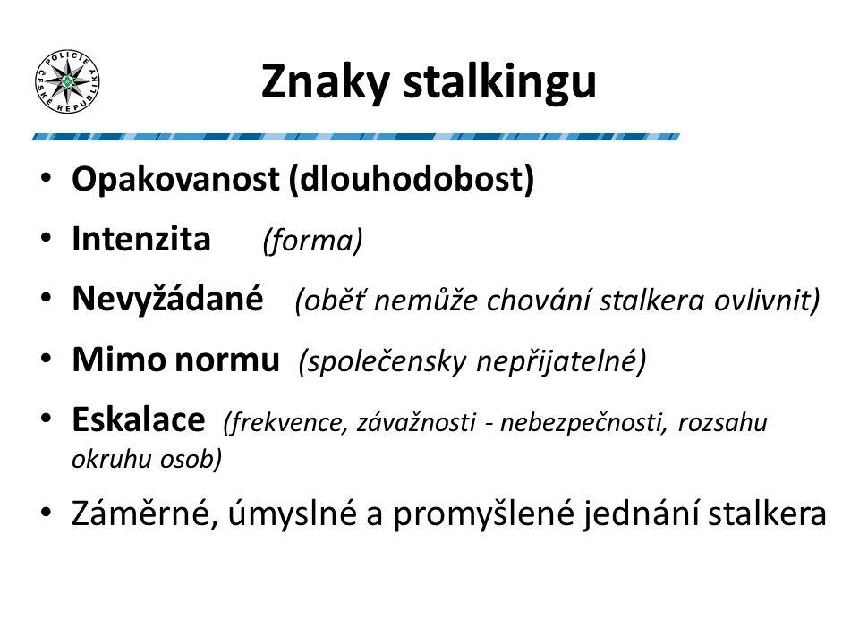 Negativní vymezení stalkingu Sociálně akceptované chování (např.