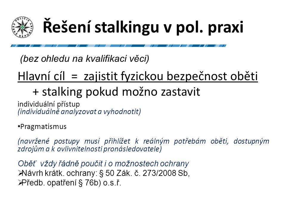 STALKING – pomůcka pro PČR 1)- znaky, hranice TČ, PŘ, typy stalkerů, posuzování rizika, doporučení pro oběť 2)- katalog otázek – v rámci přijímání oznámení a šetření Ke stažení v elektr.