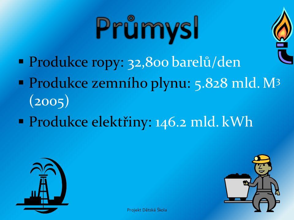  Produkce ropy: 32,800 barelů/den  Produkce zemního plynu: 5.828 mld. M 3 (2005)  Produkce elektřiny: 146.2 mld. kWh Projekt Dětská Škola