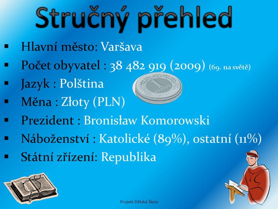  Hlavní město: Varšava  Počet obyvatel : 38 482 919 (2009) (69. na světě)  Jazyk : Polština  Měna : Złoty (PLN)  Prezident : Bronisław Komorowski