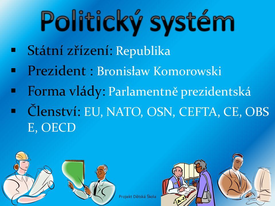  Státní zřízení: Republika  Prezident : Bronisław Komorowski  Forma vlády: Parlamentně prezidentská  Členství: EU, NATO, OSN, CEFTA, CE, OBS E, OE