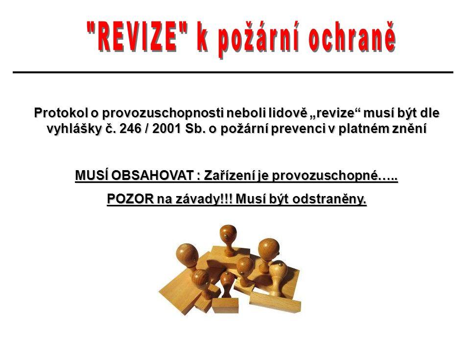 """Protokol o provozuschopnosti neboli lidově """"revize musí být dle vyhlášky č."""