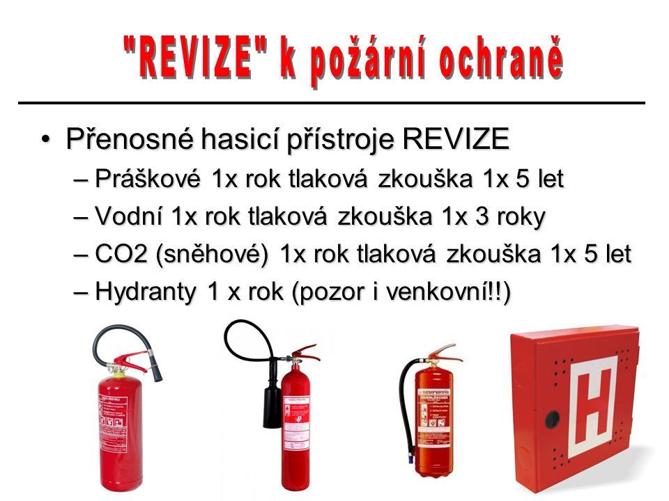 Přenosné hasicí přístroje REVIZEPřenosné hasicí přístroje REVIZE –Práškové 1x rok tlaková zkouška 1x 5 let –Vodní 1x rok tlaková zkouška 1x 3 roky –CO2 (sněhové) 1x rok tlaková zkouška 1x 5 let –Hydranty 1 x rok (pozor i venkovní!!)