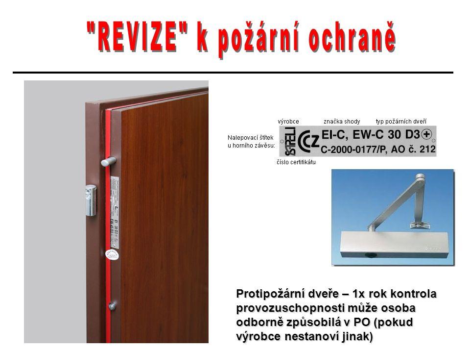 Protipožární dveře – 1x rok kontrola provozuschopnosti může osoba odborně způsobilá v PO (pokud výrobce nestanoví jinak)
