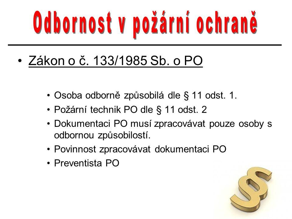 Zákon o č. 133/1985 Sb. o PO Osoba odborně způsobilá dle § 11 odst. 1. Požární technik PO dle § 11 odst. 2 Dokumentaci PO musí zpracovávat pouze osoby