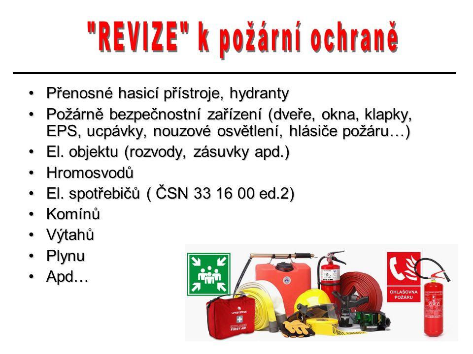 Přenosné hasicí přístroje, hydrantyPřenosné hasicí přístroje, hydranty Požárně bezpečnostní zařízení (dveře, okna, klapky, EPS, ucpávky, nouzové osvětlení, hlásiče požáru…)Požárně bezpečnostní zařízení (dveře, okna, klapky, EPS, ucpávky, nouzové osvětlení, hlásiče požáru…) El.