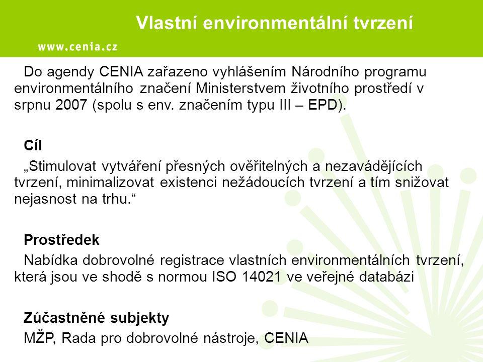 Vlastní environmentální tvrzení Do agendy CENIA zařazeno vyhlášením Národního programu environmentálního značení Ministerstvem životního prostředí v srpnu 2007 (spolu s env.