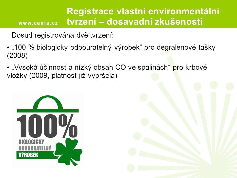 """Registrace vlastní environmentální tvrzení – dosavadní zkušenosti Dosud registrována dvě tvrzení: """"100 % biologicky odbouratelný výrobek pro degralenové tašky (2008) """"Vysoká účinnost a nízký obsah CO ve spalinách pro krbové vložky (2009, platnost již vypršela)"""