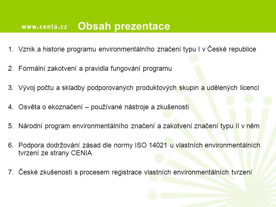 1.Vznik a historie programu environmentálního značení typu I v České republice 2.Formální zakotvení a pravidla fungování programu 3.Vývoj počtu a skladby podporovaných produktových skupin a udělených licencí 4.Osvěta o ekoznačení – používané nástroje a zkušenosti 5.Národní program environmentálního značení a zakotvení značení typu II v něm 6.Podpora dodržování zásad dle normy ISO 14021 u vlastních environmentálních tvrzení ze strany CENIA 7.České zkušenosti s procesem registrace vlastních environmentálních tvrzení Obsah prezentace