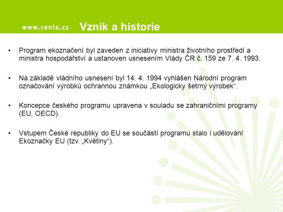 Formální zakotvení a pravidla fungování programu Hlavními orgány českého programu ekoznačení jsou Ministerstvo životního prostředí, Rada ministra ŽP pro dobrovolné nástroje a CENIA, česká informační agentura životního prostředí MŽP garant Programu vydává metodiky a následné dokumenty k provádění Programu schvaluje a podepisuje Pravidla a jednotlivé Směrnice s požadavky pro propůjčení ekoznačky (ministr) schvaluje a podepisuje certifikáty udělující ekoznačku konkrétnímu výrobku / službě (ministr) zajišťuje informace a propagaci systému ekoznačení (spolu s CENIA) zveřejňování dosažených výsledků (spolu s CENIA) zajišťování veřejného předávání ekoznaček (certifikátů) držitelům Je odpovědným orgánem pro udělování Ekoznačky EU (spolu s CENIA)