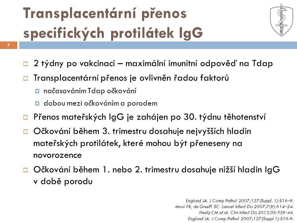 Transplacentární přenos specifických protilátek IgG 7  2 týdny po vakcinaci – maximální imunitní odpověď na Tdap  Transplacentární přenos je ovlivněn řadou faktorů  načasováním Tdap očkování  dobou mezi očkováním a porodem  Přenos mateřských IgG je zahájen po 30.