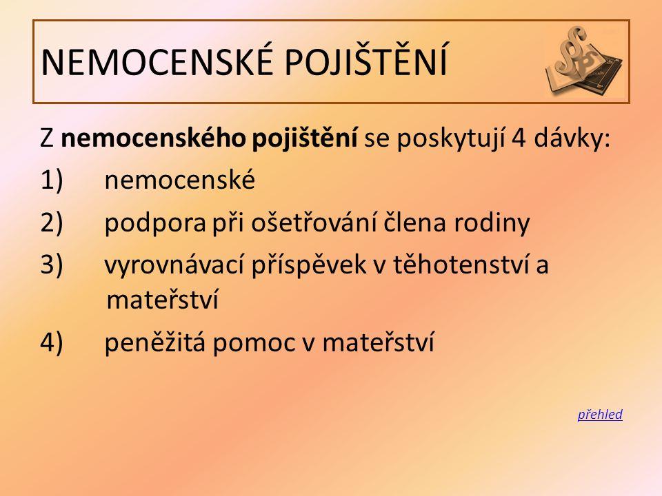NEMOCENSKÉ POJIŠTĚNÍ Z nemocenského pojištění se poskytují 4 dávky: 1) nemocenské 2) podpora při ošetřování člena rodiny 3) vyrovnávací příspěvek v těhotenství a mateřství 4) peněžitá pomoc v mateřství přehled