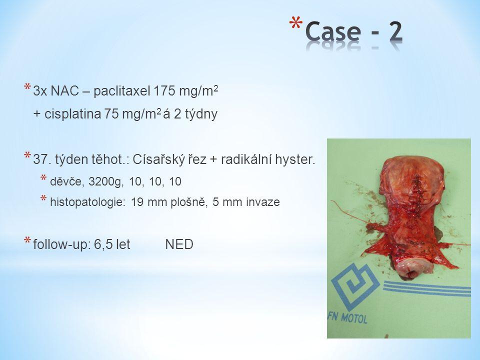 * 3x NAC – paclitaxel 175 mg/m 2 + cisplatina 75 mg/m 2 á 2 týdny * 37.