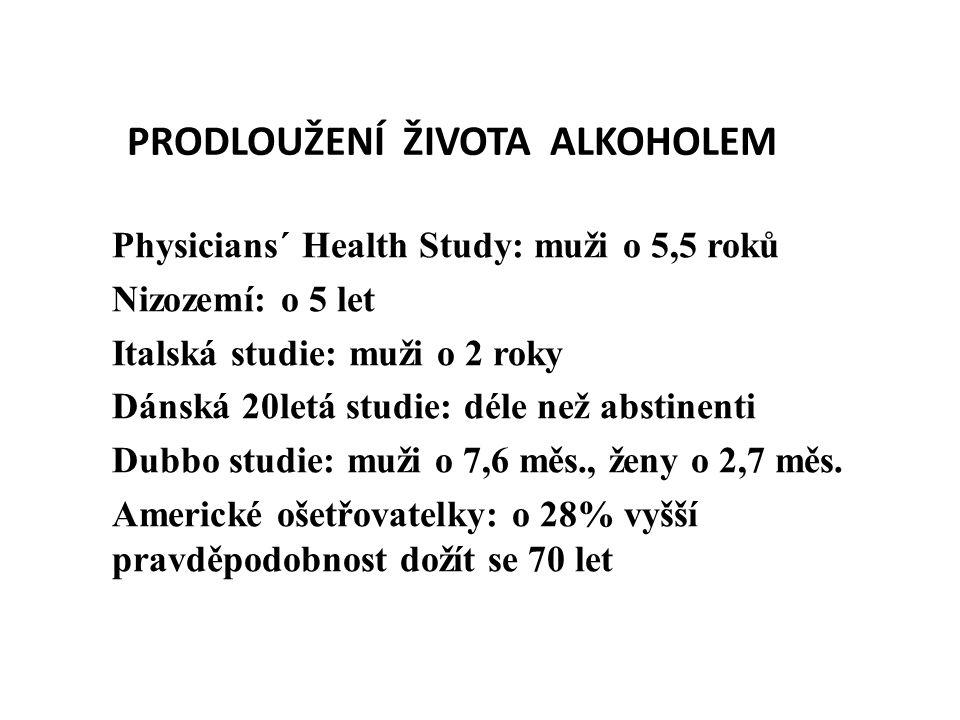 PRODLOUŽENÍ ŽIVOTA ALKOHOLEM Physicians´ Health Study: muži o 5,5 roků Nizozemí: o 5 let Italská studie: muži o 2 roky Dánská 20letá studie: déle než abstinenti Dubbo studie: muži o 7,6 měs., ženy o 2,7 měs.