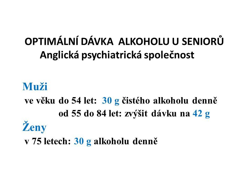 OPTIMÁLNÍ DÁVKA ALKOHOLU U SENIORŮ Anglická psychiatrická společnost Muži ve věku do 54 let: 30 g čistého alkoholu denně od 55 do 84 let: zvýšit dávku na 42 g Ženy v 75 letech: 30 g alkoholu denně