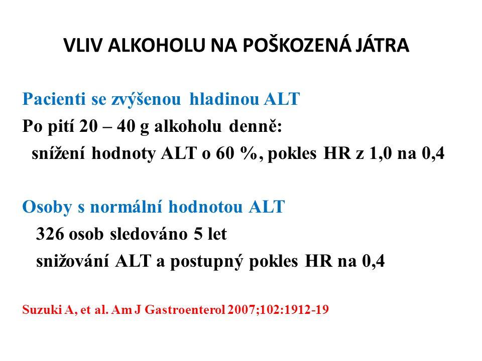 VLIV ALKOHOLU NA POŠKOZENÁ JÁTRA Pacienti se zvýšenou hladinou ALT Po pití 20 – 40 g alkoholu denně: snížení hodnoty ALT o 60 %, pokles HR z 1,0 na 0,4 Osoby s normální hodnotou ALT 326 osob sledováno 5 let snižování ALT a postupný pokles HR na 0,4 Suzuki A, et al.
