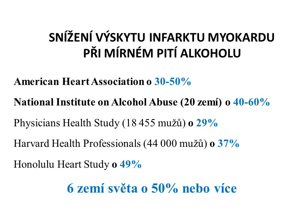 MÍRNÉ PITÍ ALKOHOLU A VÝHLED PO PRVNÍM SRDEČNÍM INFARKTU Studie SHEEP: 1 346 pac.