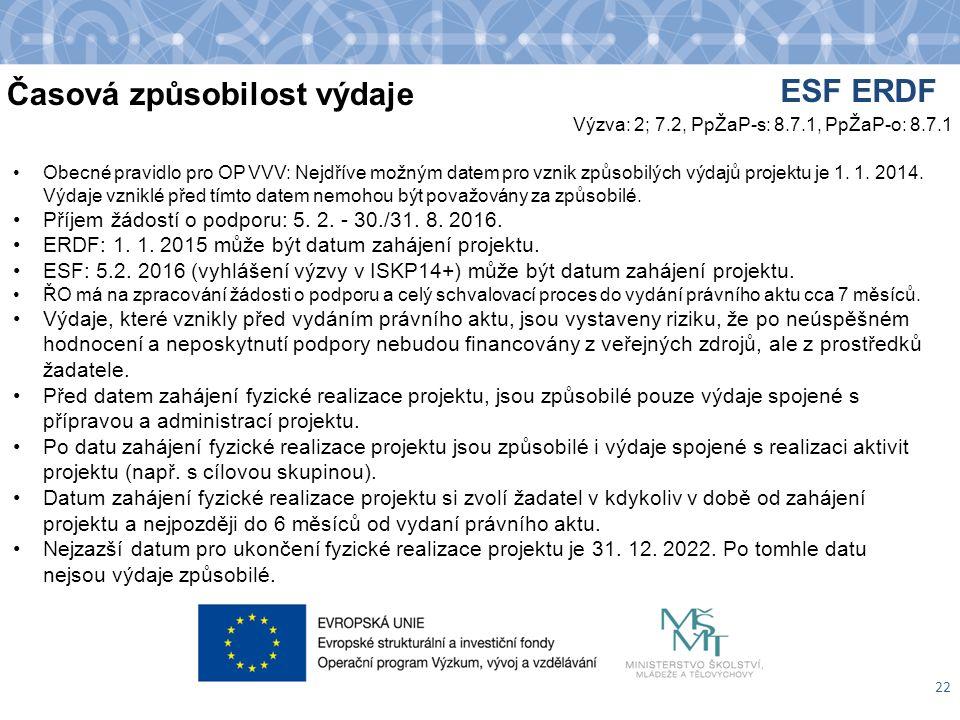 Časová způsobilost výdaje 22 Obecné pravidlo pro OP VVV: Nejdříve možným datem pro vznik způsobilých výdajů projektu je 1.
