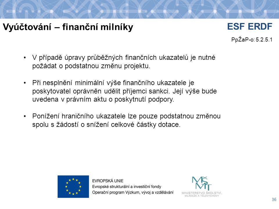 Vyúčtování – finanční milníky 36 V případě úpravy průběžných finančních ukazatelů je nutné požádat o podstatnou změnu projektu.