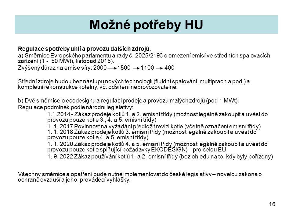 16 Možné potřeby HU Regulace spotřeby uhlí a provozu dalších zdrojů: a) Směrnice Evropského parlamentu a rady č.