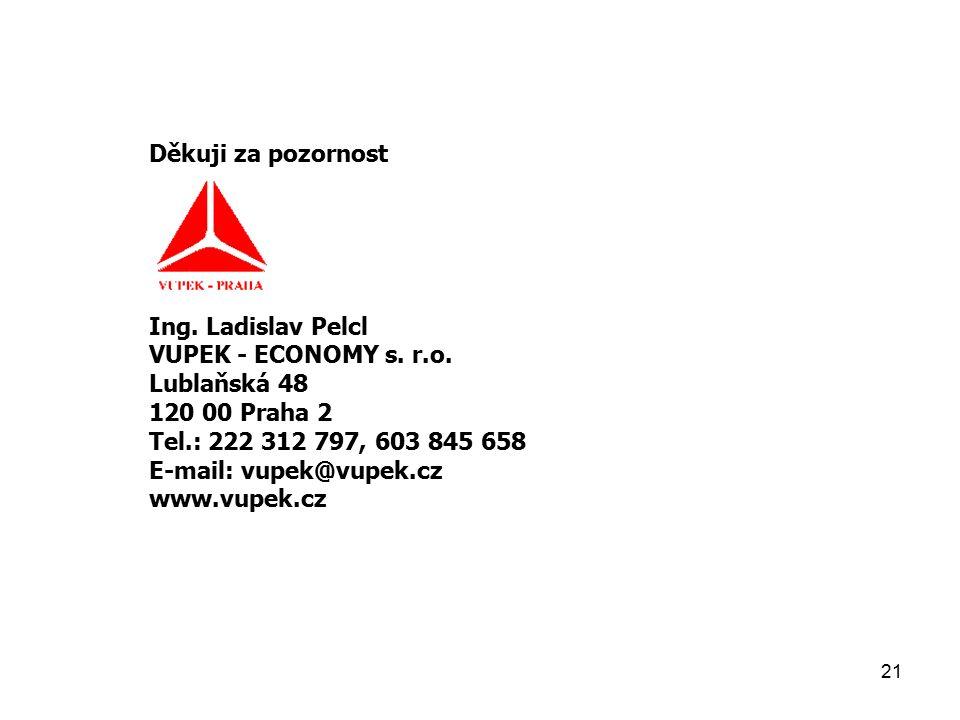 21 Děkuji za pozornost Ing. Ladislav Pelcl VUPEK - ECONOMY s.
