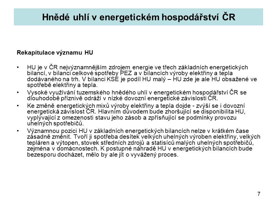7 Hnědé uhlí v energetickém hospodářství ČR Rekapitulace významu HU HU je v ČR nejvýznamnějším zdrojem energie ve třech základních energetických bilancí, v bilanci celkové spotřeby PEZ a v bilancích výroby elektřiny a tepla dodávaného na trh.
