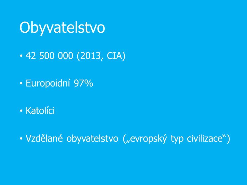 """Obyvatelstvo 42 500 000 (2013, CIA) Europoidní 97% Katolíci Vzdělané obyvatelstvo (""""evropský typ civilizace"""")"""
