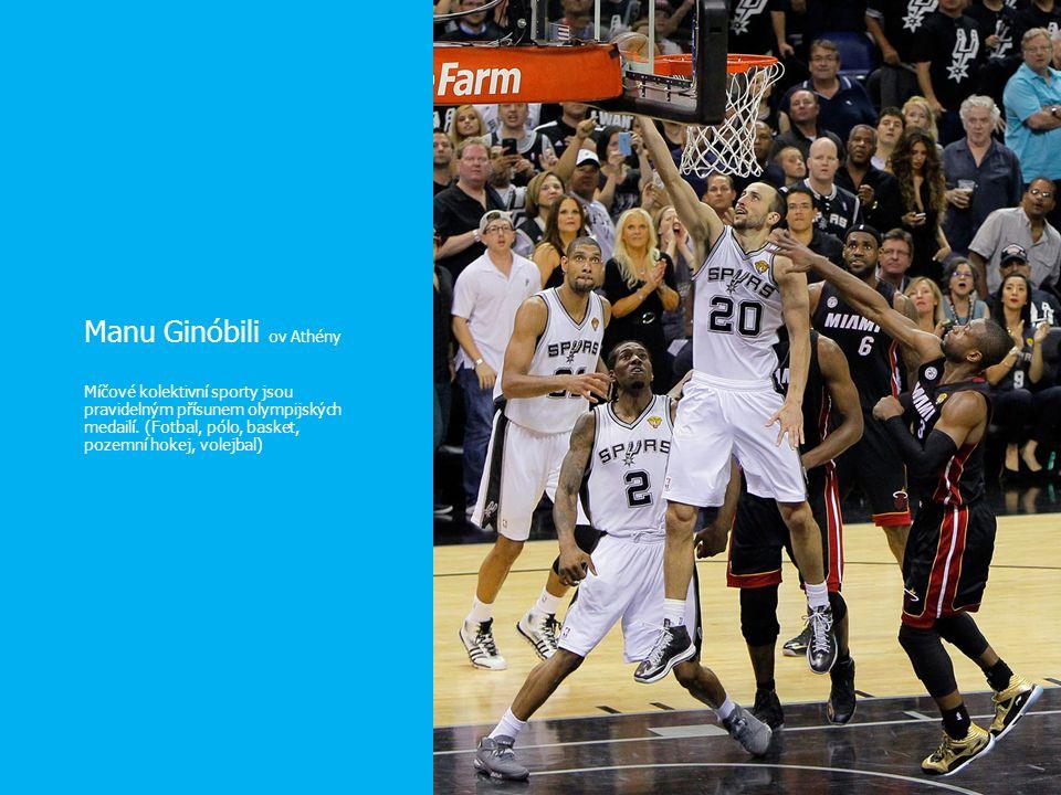 Manu Ginóbili ov Athény Míčové kolektivní sporty jsou pravidelným přísunem olympijských medailí. (Fotbal, pólo, basket, pozemní hokej, volejbal)