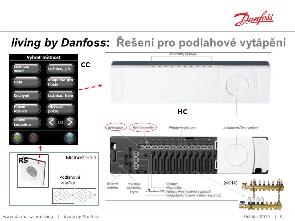 www.danfoss.com/living | living by Danfoss October 2010 | 8 living by Danfoss: Řešení pro podlahové vytápění - Dovolená Podlahové smyčky HC RS CC Místnost Hala 24V NC