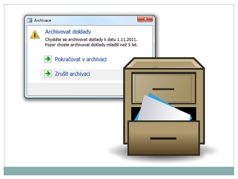 Archivace Archivace dat je proces, který slouží k dlouhodobému uchování dat, přičemž data jsou obvykle vhodně zabalena v archivu tak, aby byla uchována bez poškození.