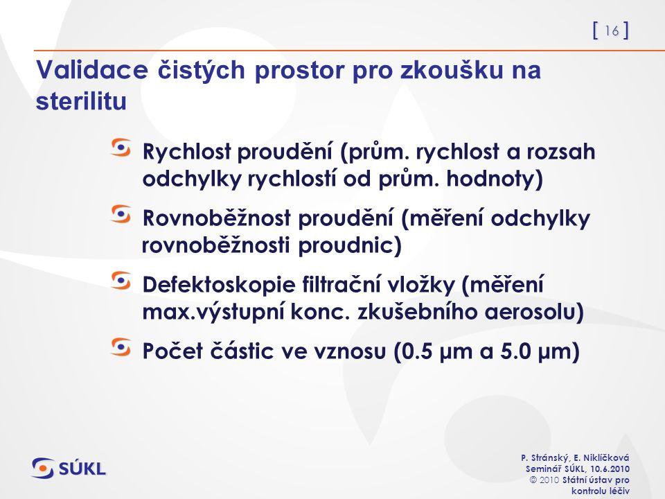 [ 16 ] P. Stránský, E. Niklíčková Seminář SÚKL, 10.6.2010 © 2010 Státní ústav pro kontrolu léčiv Validace čistých prostor pro zkoušku na sterilitu Ryc