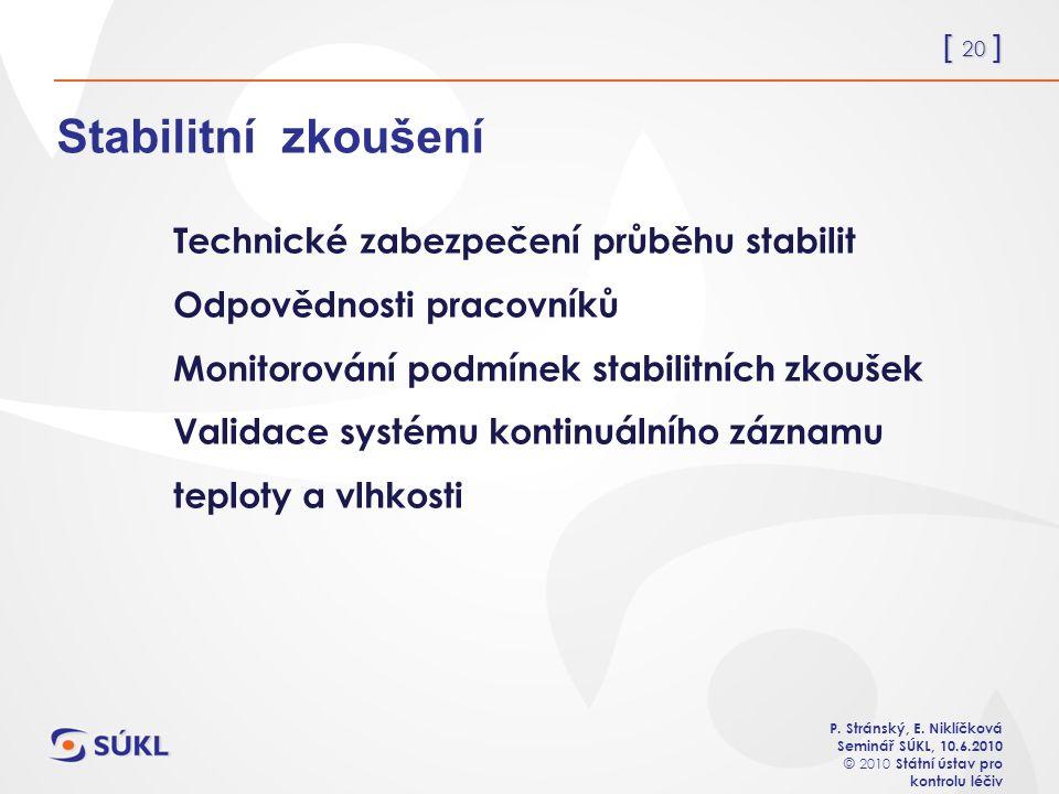 [ 20 ] P. Stránský, E. Niklíčková Seminář SÚKL, 10.6.2010 © 2010 Státní ústav pro kontrolu léčiv Stabilitní zkoušení Technické zabezpečení průběhu sta