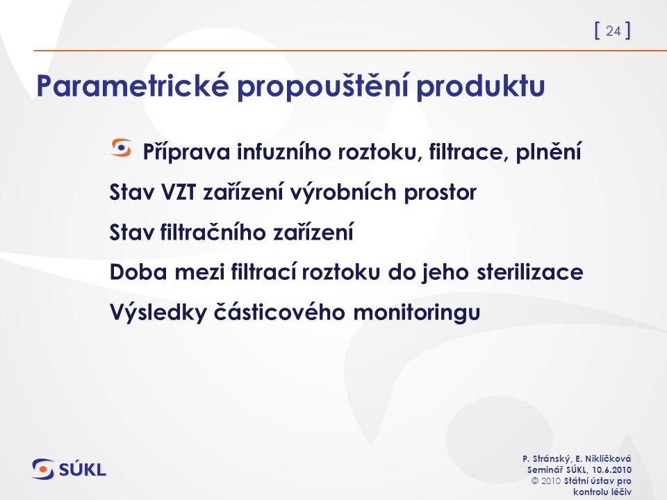 [ 24 ] P. Stránský, E. Niklíčková Seminář SÚKL, 10.6.2010 © 2010 Státní ústav pro kontrolu léčiv Parametrické propouštění produktu Příprava infuzního
