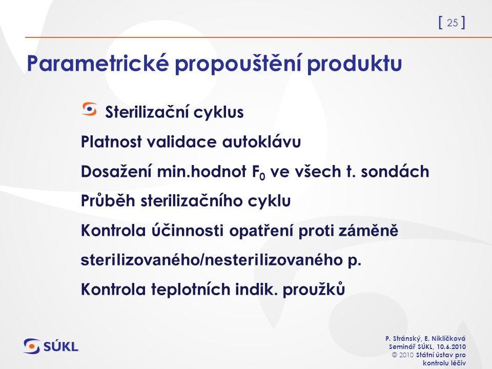 [ 25 ] P. Stránský, E. Niklíčková Seminář SÚKL, 10.6.2010 © 2010 Státní ústav pro kontrolu léčiv Parametrické propouštění produktu Sterilizační cyklus