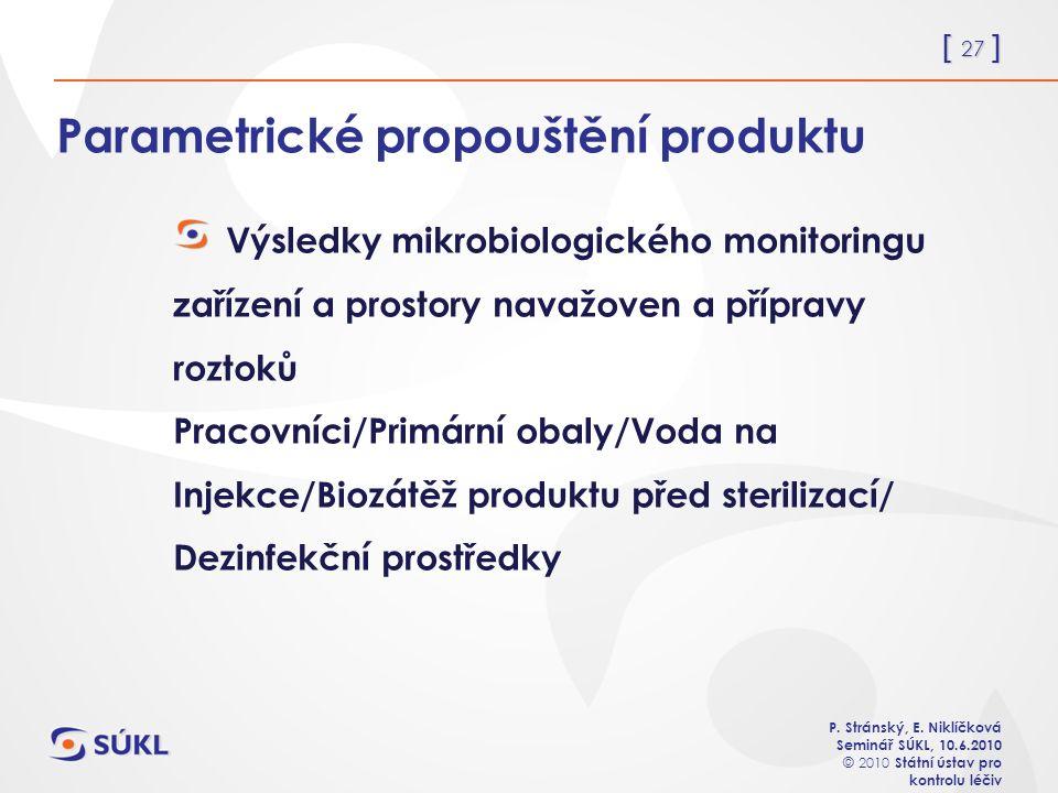 [ 27 ] P. Stránský, E. Niklíčková Seminář SÚKL, 10.6.2010 © 2010 Státní ústav pro kontrolu léčiv Parametrické propouštění produktu Výsledky mikrobiolo