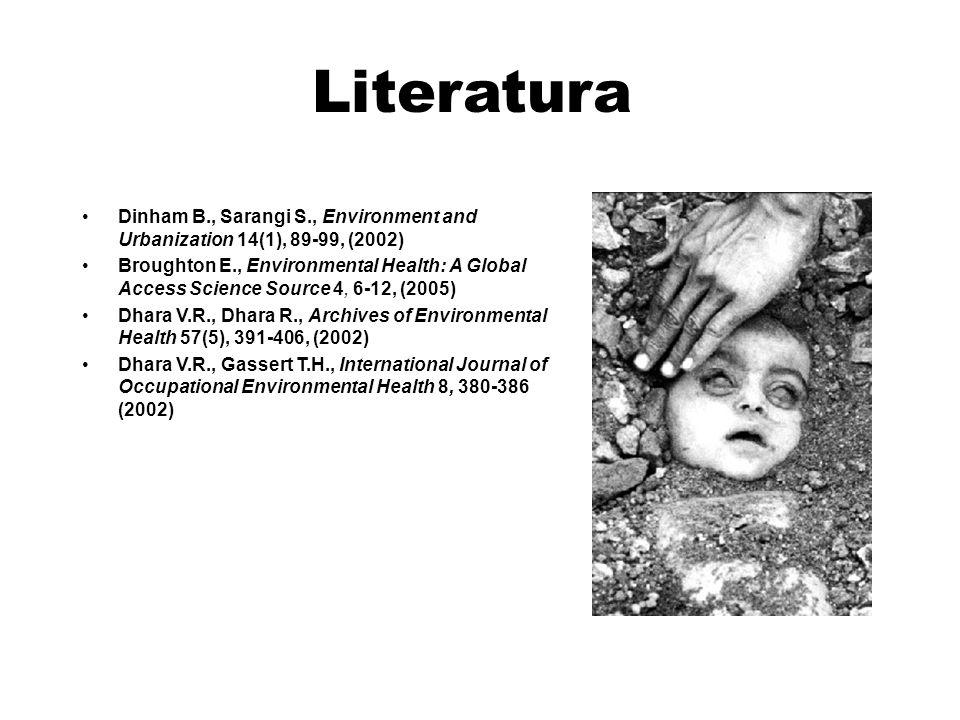 Literatura Dinham B., Sarangi S., Environment and Urbanization 14(1), 89-99, (2002) Broughton E., Environmental Health: A Global Access Science Source 4, 6-12, (2005) Dhara V.R., Dhara R., Archives of Environmental Health 57(5), 391-406, (2002) Dhara V.R., Gassert T.H., International Journal of Occupational Environmental Health 8, 380-386 (2002)