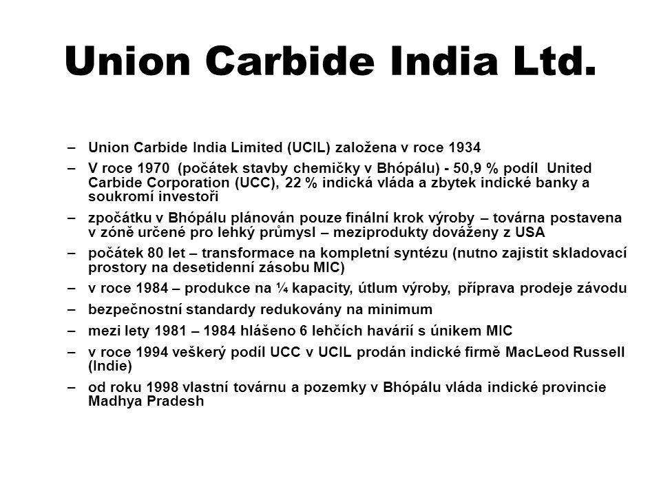 Union Carbide India Ltd. –Union Carbide India Limited (UCIL) založena v roce 1934 –V roce 1970 (počátek stavby chemičky v Bhópálu) - 50,9 % podíl Unit