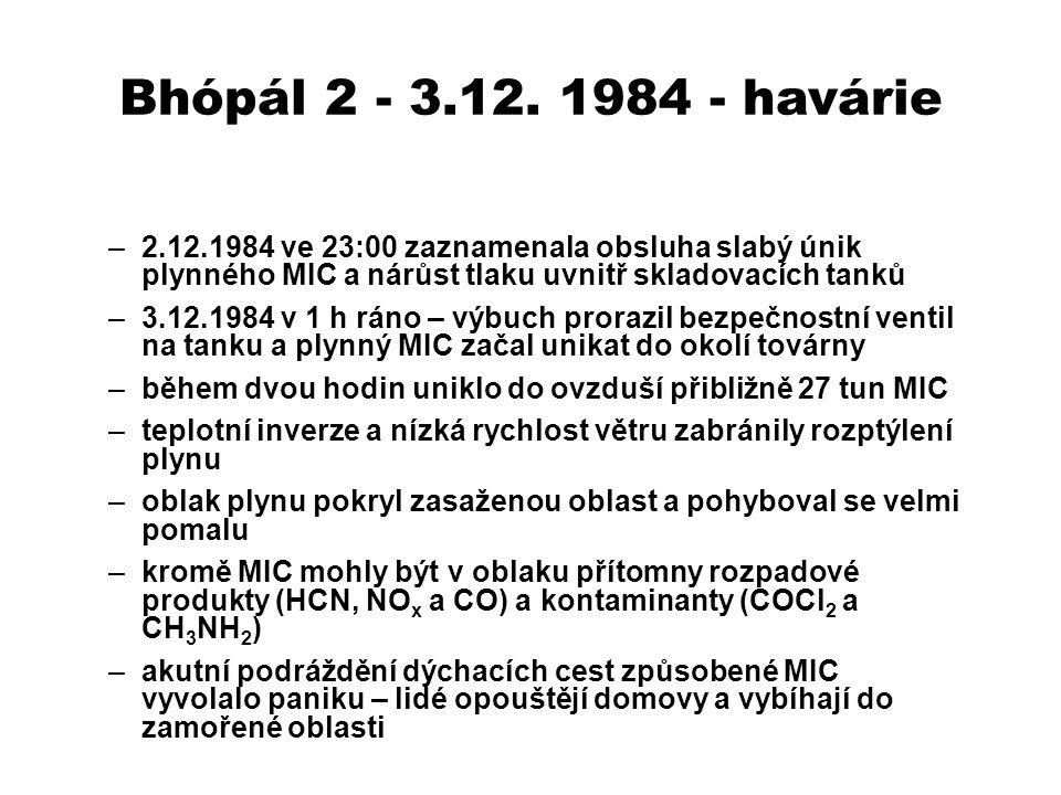 ExpoziceRozsah/intenzita Únik MIC27 t Zasažená oblast40 km 2 Odhad průměru koncentrace MIC27 ppm Odhad mediánu koncentrace MIC1,8 ppm Odhad rozsahu koncentrací MIC0,12 – 85,6 ppm OSHA standard0,02 ppm AplikaceDávkaModelLD 50 /LC 50 Orálně10% roztok, jednorázově Potkan – samec71 mg/kg InhalačněPáry (4h)Potkan1,25 mg/m 3 (*) TransdermálněneředěnýKrálík0,22 mL/kg * hustota suchého vzduchu 1,2 kg/m 3 Expozice MIC – Bhópál Akutní toxicita MIC Zdroj: Dara V.R., Dara R., Archives of Environmental Health 57 (5), 391-404, (2002)