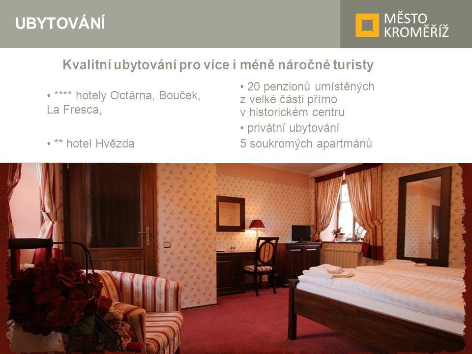 UBYTOVÁNÍ **** hotely Octárna, Bouček, La Fresca, ** hotel Hvězda 20 penzionů umístěných z velké části přímo v historickém centru privátní ubytování 5 soukromých apartmánů Kvalitní ubytování pro více i méně náročné turisty