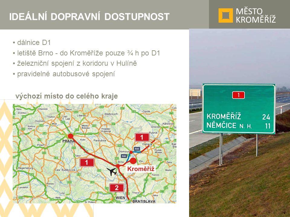 IDEÁLNÍ DOPRAVNÍ DOSTUPNOST dálnice D1 letiště Brno - do Kroměříže pouze ¾ h po D1 železniční spojení z koridoru v Hulíně pravidelné autobusové spojení výchozí místo do celého kraje