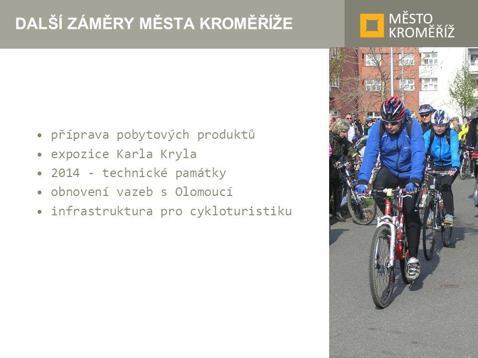 DALŠÍ ZÁMĚRY MĚSTA KROMĚŘÍŽE příprava pobytových produktů expozice Karla Kryla 2014 - technické památky obnovení vazeb s Olomoucí infrastruktura pro c