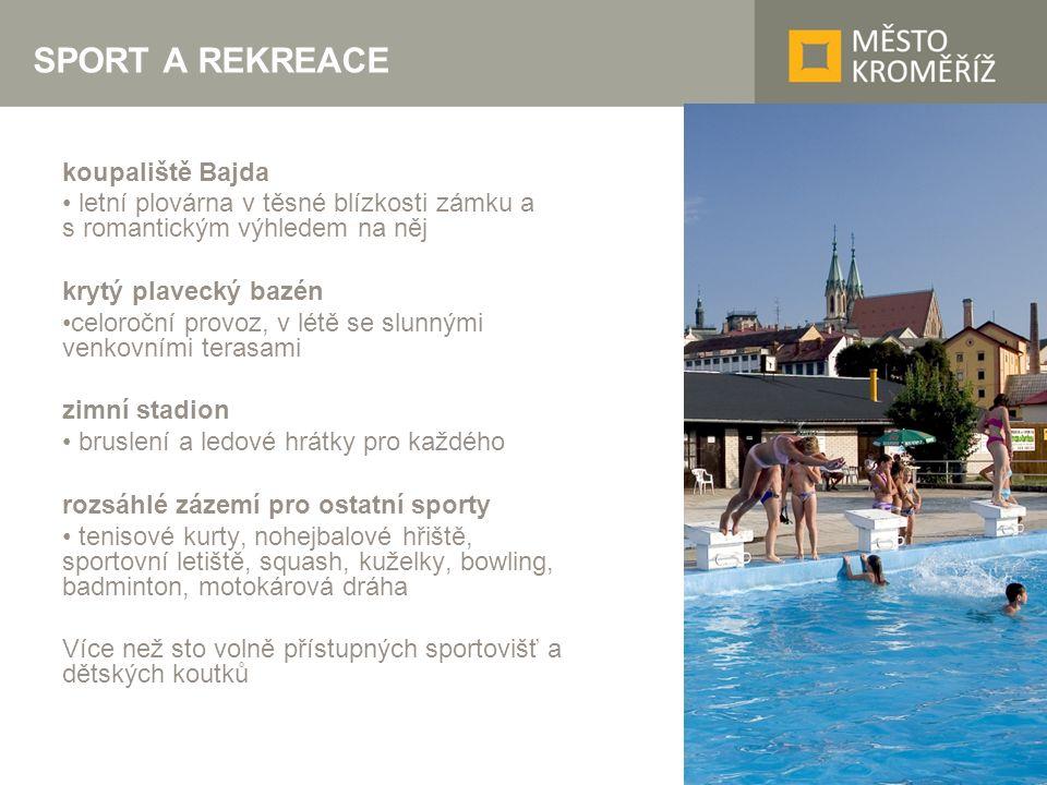 SPORT A REKREACE koupaliště Bajda letní plovárna v těsné blízkosti zámku a s romantickým výhledem na něj krytý plavecký bazén celoroční provoz, v létě