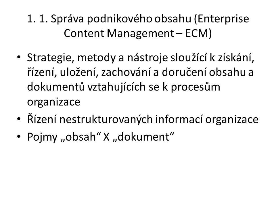 1. 1. Správa podnikového obsahu (Enterprise Content Management – ECM) Strategie, metody a nástroje sloužící k získání, řízení, uložení, zachování a do